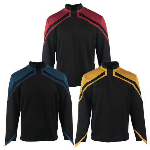 Star Trek Admiral JL Picard Uniform  Cosplay Male Red Gold Blue Men Top Shirts Coat Adult Halloween Costume Prop