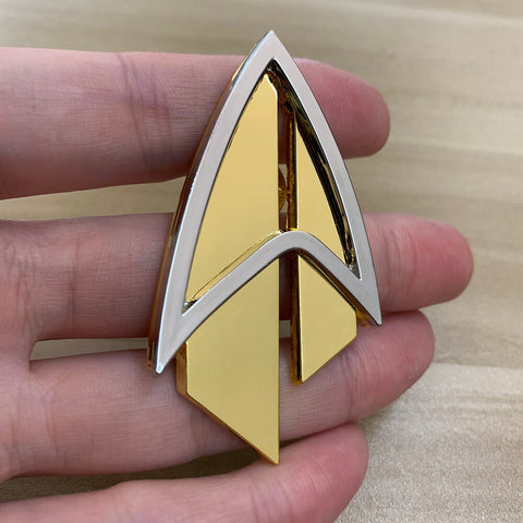 Star Trek Admiral JL Picard Pin The Next Generation Communicator Gold Pin Brooches Badge Accessories Metal