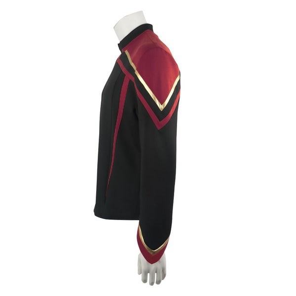 Star Trek Admiral JL Picard Red Gold Stripe Uniform Startfleet Shirts Men Cosplay Costumes Top