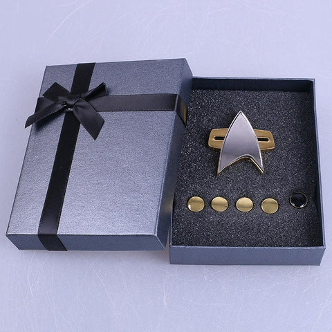 Star Trek Badge Voyager Communicator Next Generation Metal Badges Pin&Rank Pip/Pips 6pcs Set Cosplay Prop - BFJ Cosmart