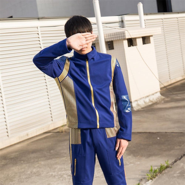 2017 Star Trek Discovery Costume with Badge Captain Uniform Blue Jacket Coat Man Cosplay Costume Starfleet Halloween Costume New - BFJ Cosmart