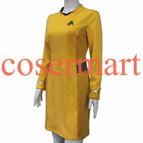 Star Trek Dress Star Trek Beyond Cosplay Costume Star Trek Yellow Uniform Adult Women Halloween Cosplay Costume Free Badge - BFJ Cosmart