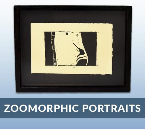 Heather Brown's 2005 Bachelor of Fine Art Show linocuts:<br />Zoomorphic Portraits
