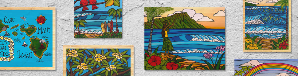 Bamboo Wood Prints reproductions of original artwork by Hawaii's Best Artist Heather Brown