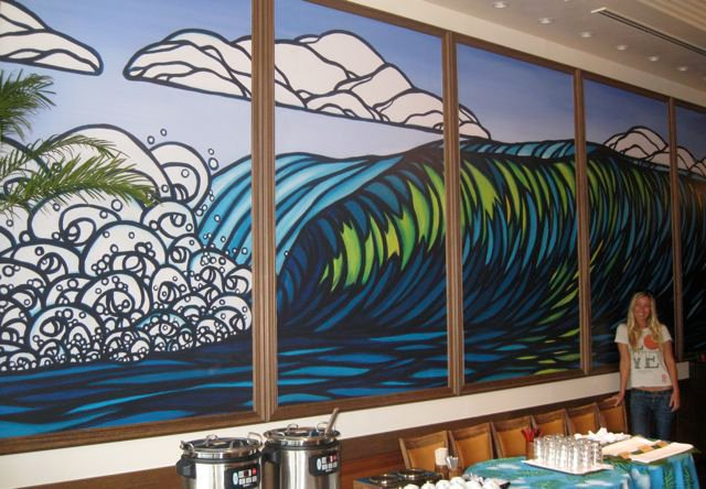 Hawaii Local Artist Wall Painting Wave Design