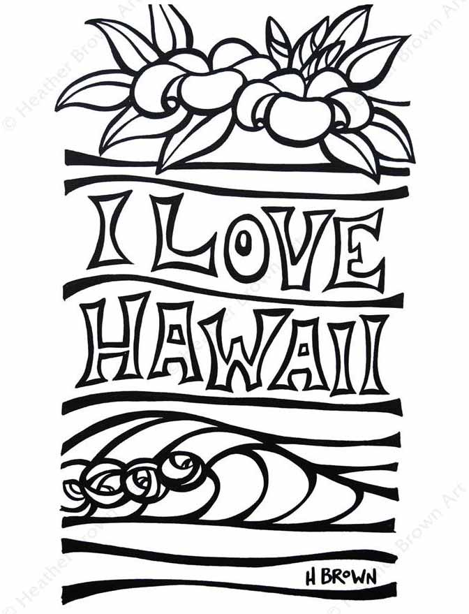 I love Hawaii Free Coloring Page PDF Download