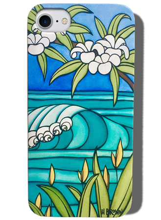 Plumeria Wave, iPhone case by Heather Brown