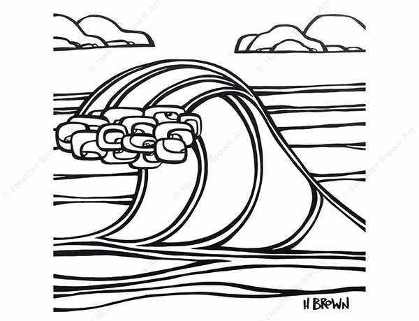 Surf Art Wave Free Coloring Pages Download