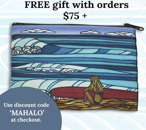 heather brown mothers day surf girl beach clutch