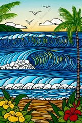 A Day in Paradise - Matted artwork by Heather Brown featuring a classic view from the beaches of Hawaii.