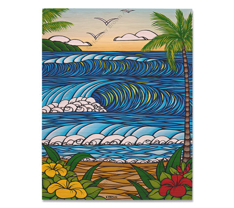 A Day in Paradise - Bamboo wood print of a beautiful view from a Hawaiian Beach by tropical artist Heather Brown