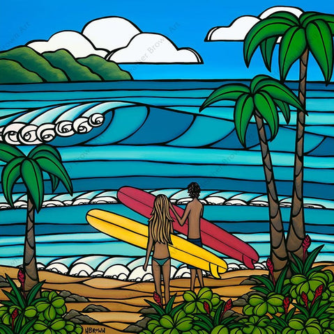 A Day in the Life - Matted print of a couple out for a day of surf and sea by Heather Brown