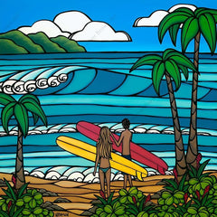 A Day in the Life - A serene painting of a couple out for a day of surf and sea by tropical artist Heather Brown