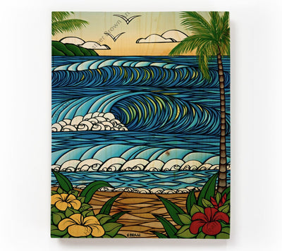 A Day in Paradise - Painting of a beautiful view from a Hawaiian Beach by tropical artist Heather Brown