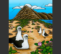 Albatross at Ka'ena Point- Matted print of a peaceful Hawaiian view by Oahu surf artist Heather Brown