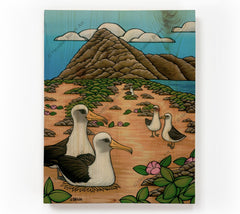 Albatross at Ka'ena Point - Painting of a beautiful view of Kaena Point by tropical artist Heather Brown