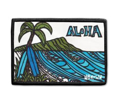 Aloha Diamond Head patch artwork by Hawaii artist Heather Brown