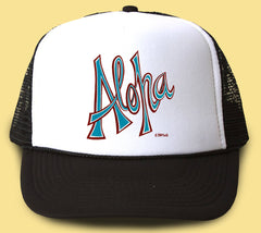 """Aloha"" Trucker Hat - Wearable Art by Tropical Artist Heather Brown"