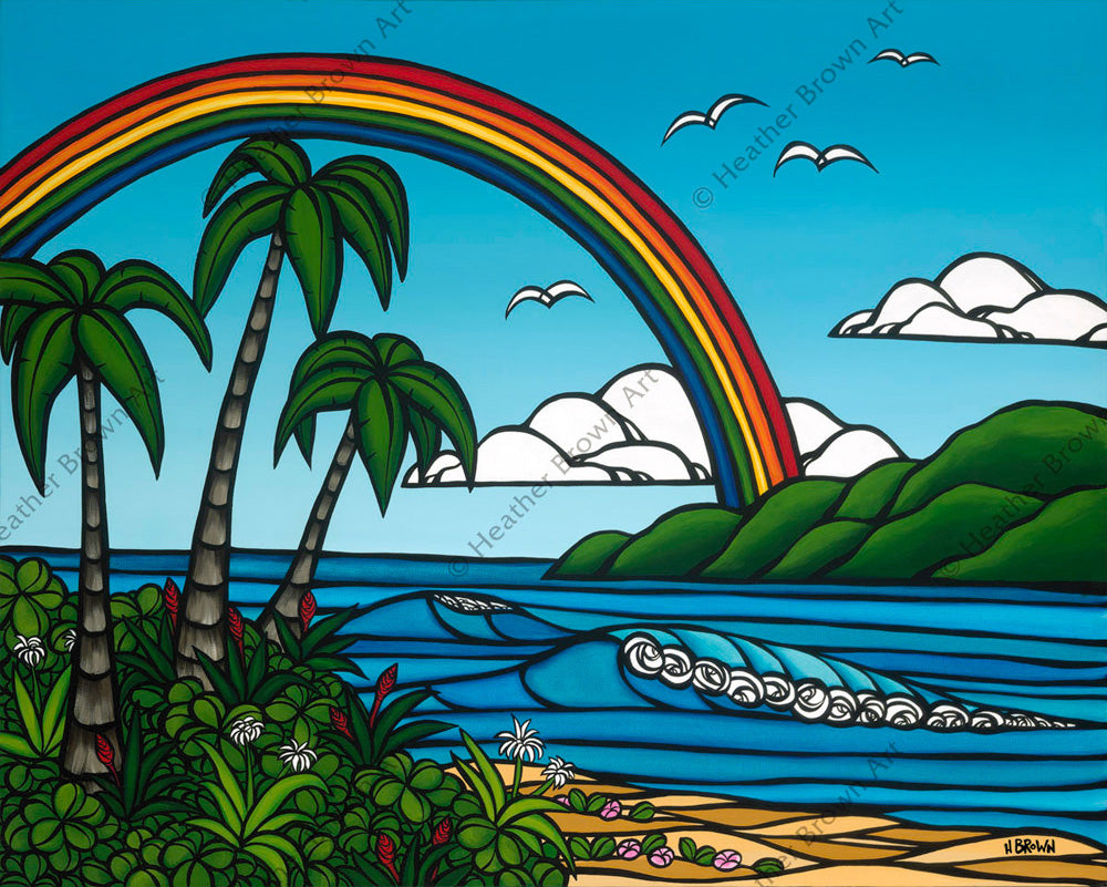 Hawaii art by Heather Brown showing palm tree, rolling waves and a rainbow