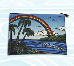 Ᾱnuenue Beach Clutch - Unique Cosmetic Case and Clutch by Hawaii artist Heather Brown