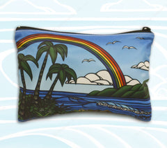 Ᾱnuenue Beach Clutch - Featuring roaring surf and the tropical rainbows of Hawaii by Heather Brown