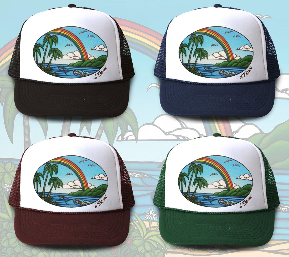 72db0ae4b6cf4 Anuenue Trucker Hat by Hawaii artist Heather Brown