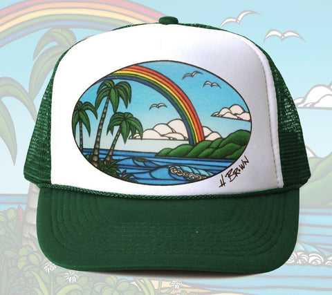Ānuenue Trucker Hat by Hawaii artist Heather Brown