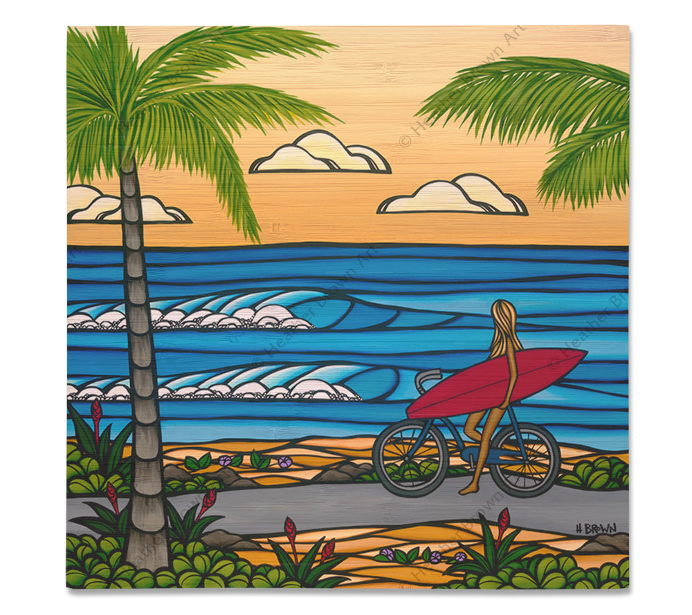 Beach Cruise - Bamboo wood print of a girl biking to the beach for a day of epic surfing by tropical artist Heather Brown