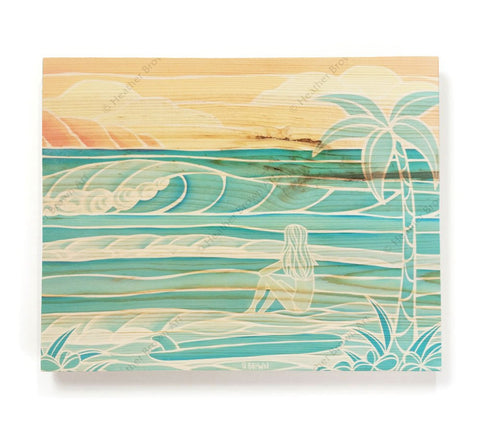 Beach Girl - Open Edition Wood Panel Print by Heather Brown