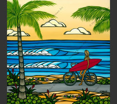 Painting by Heather Brown featuring a girl heading to the beach for a say of surf and sea.