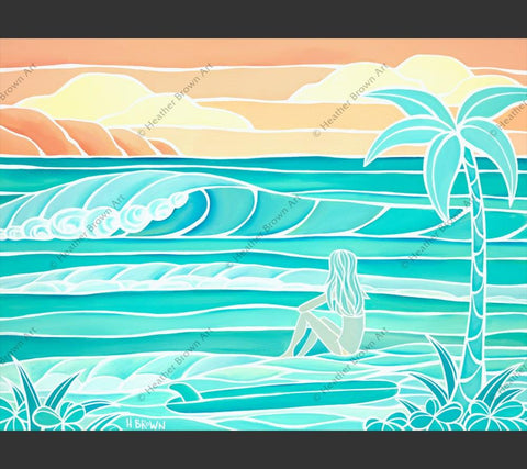 Painting by Heather Brown featuring a surfer girl out for a day of sun and sea.