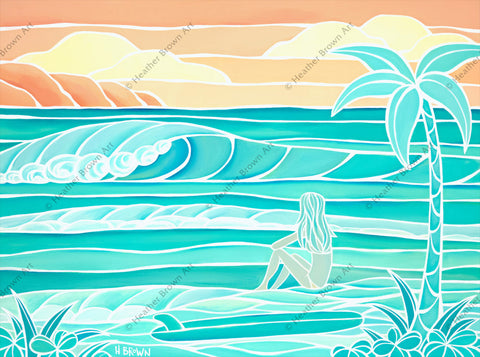 Beach Girl - A vibrant, two-toned painting of a surfer girl looking out at the waves by Hawaii artist Heather Brown