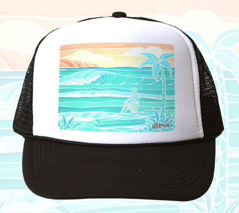 Beach Girl Trucker Hat by Heather Brown Art