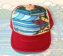 "The ""Best Friends"" trucker hat features an image of two surfer girls out for a day of sandy beaches and epic waves."