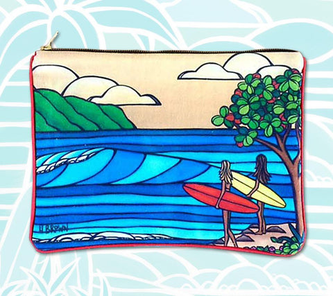 "The ""Best Friends"" Clutch by Heather Brown features two friends out for a day of surfing the waves off the tropical beaches of Hawaii."