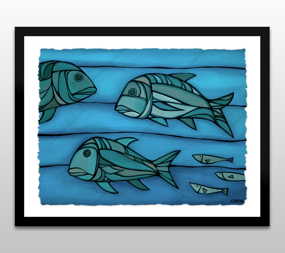 Blue Uluas - Black Framed Deckled Paper Print by Heather Brown
