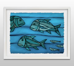 Blue Uluas - White Framed Deckled Paper Print by Heather Brown