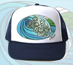 Blue Barrel Trucker Hat by Hawaii artist Heather Brown