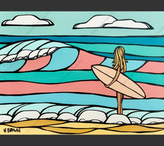 Candy Surf - Painting by Heather Brown featuring a girl out for an epic day of surfing on waves appearing in beautiful pastel colors.