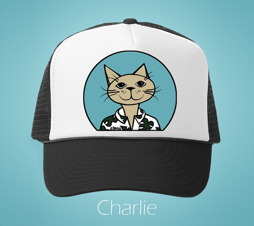 Charlie Humane Society Trucker Hat by Hawaii artist Heather Brown