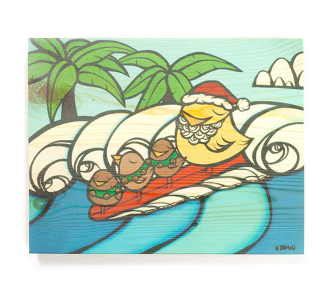 Christmas Surf - Open Edition Wood Panel Print by Heather Brown