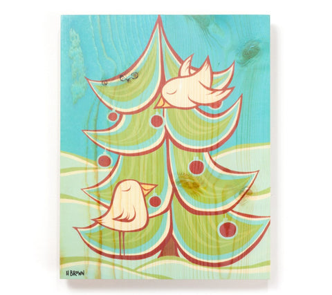 Christmas Tree - Open Edition Wood Panel Print by Heather Brown