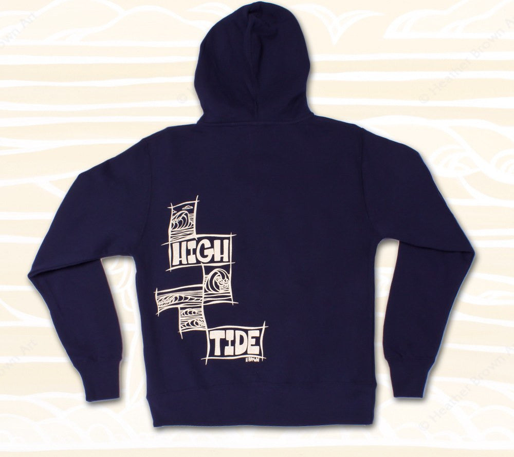 High Tide Cubes Hoodie (Back) Heather Brown Apparel - Iconic surf art is now wearable