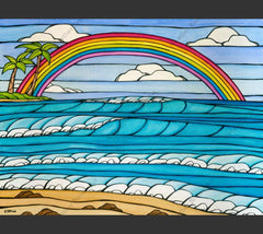 Painting by Heather Brown featuring a rainbow framing an iconic view of a Hawaii beach.