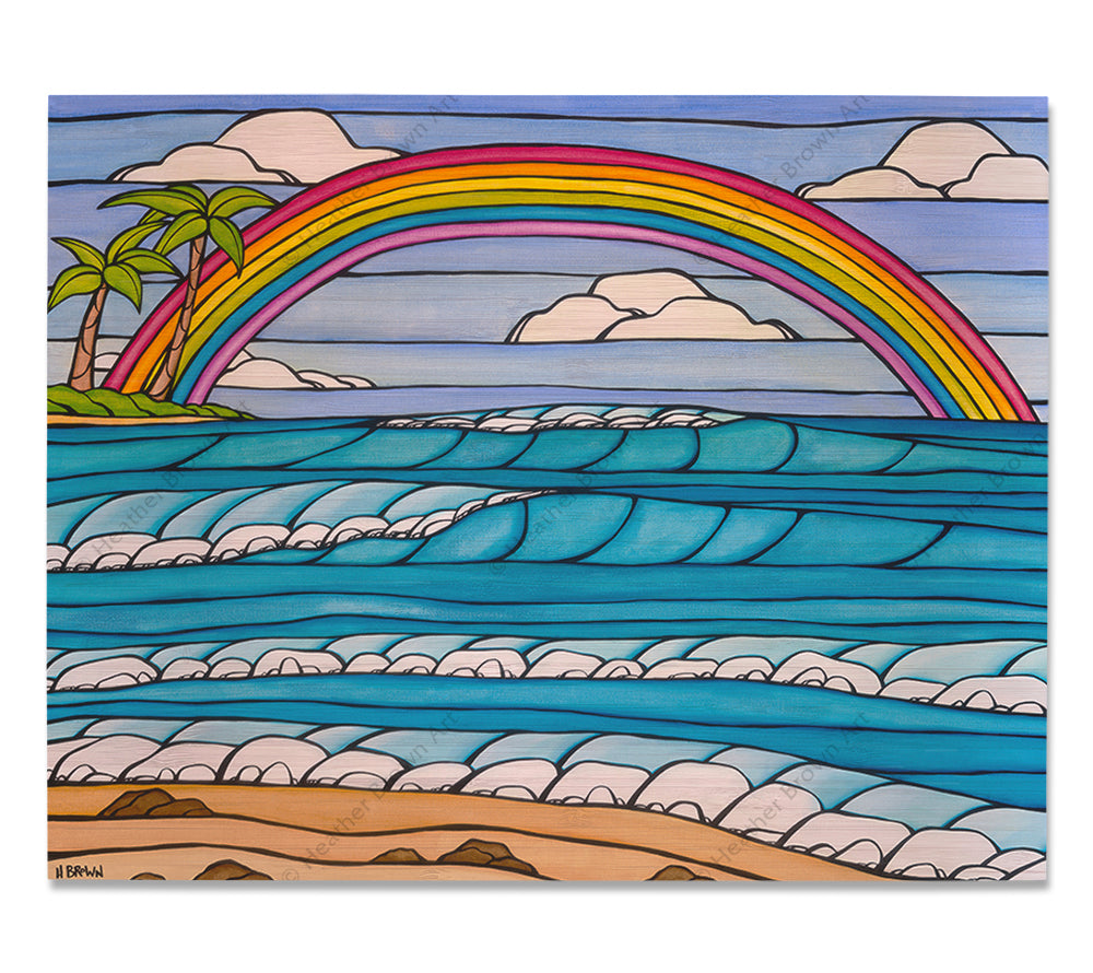 Daydream Rainbow - Bamboo wood print of a rainbow framing an iconic view of a Hawaii beach by tropical artist Heather Brown