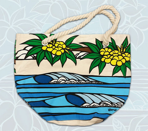 """Daydream Surf"" rope handle canvas tote bag by Heather Brown Art"