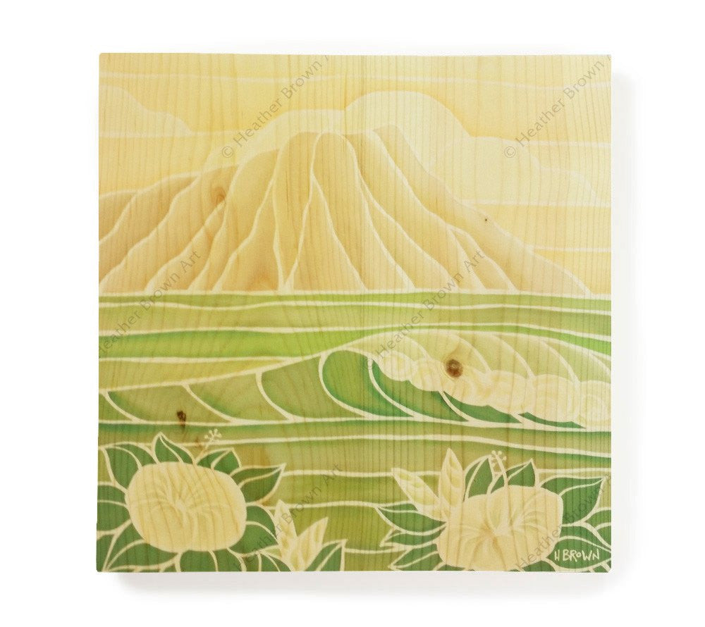 Diamond Head Sunrise - Open Edition Wood Panel Print by Heather Brown
