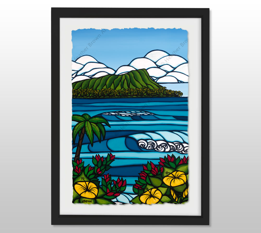 Diamond Head - Black Framed Deckled Paper Print by Heather Brown