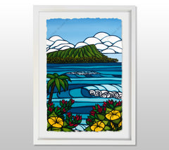 Diamond Head - White Framed Deckled Paper Print by Heather Brown