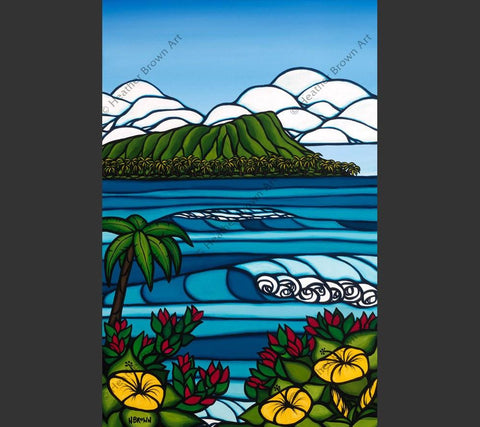 The majestic Diamond Head rises from the ocean in this Hawaii art by Heather Brown